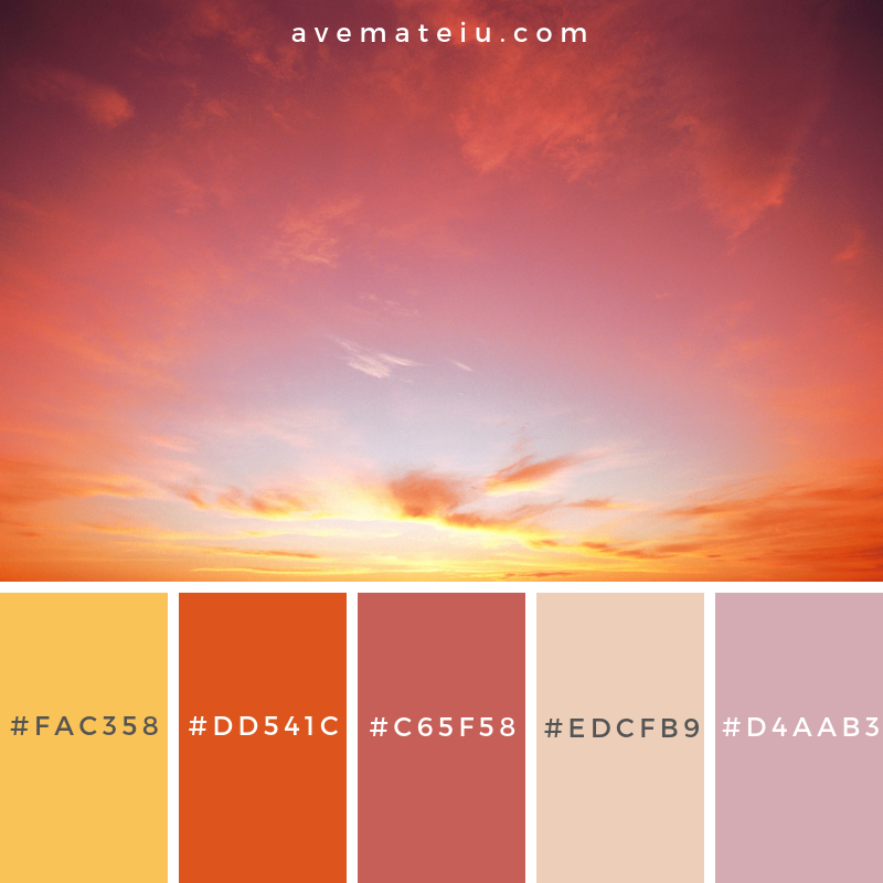 Classic Sunset Color Palette #330 - Color combination, Color pallets, Color palettes, Color scheme, Color inspiration, Colour Palettes, Art, Inspiration, Vintage, Bright, Blue, Warm, Dark, Design, Yellow, Green, Grey, Red, Purple, Rustic, Fall, Autumn, Winter, Summer 2019, Nature, Spring, Summer, Flowers, Sunset, Sunrise, Pantone https://avemateiu.com/color-palettes/