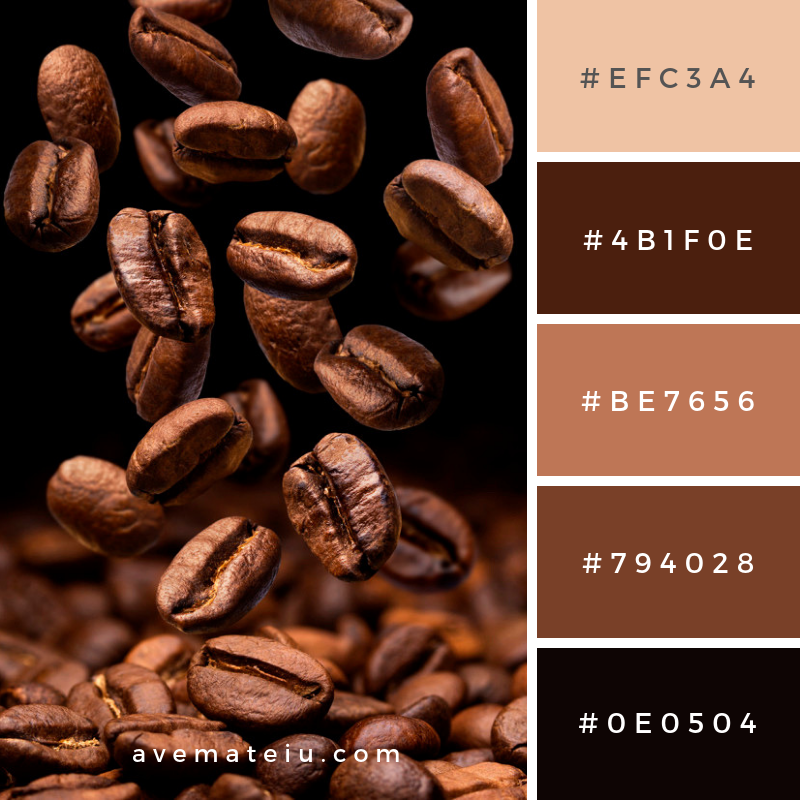 Falling coffee beans with copy space Color Palette #333 - Color combination, Color pallets, Color palettes, Color scheme, Color inspiration, Colour Palettes, Art, Inspiration, Vintage, Bright, Blue, Warm, Dark, Design, Yellow, Green, Grey, Red, Purple, Rustic, Fall, Autumn, Winter, Autumn 2019, Nature, Spring, Summer, Flowers, Sunset, Sunrise, Pantone https://avemateiu.com/color-palettes/