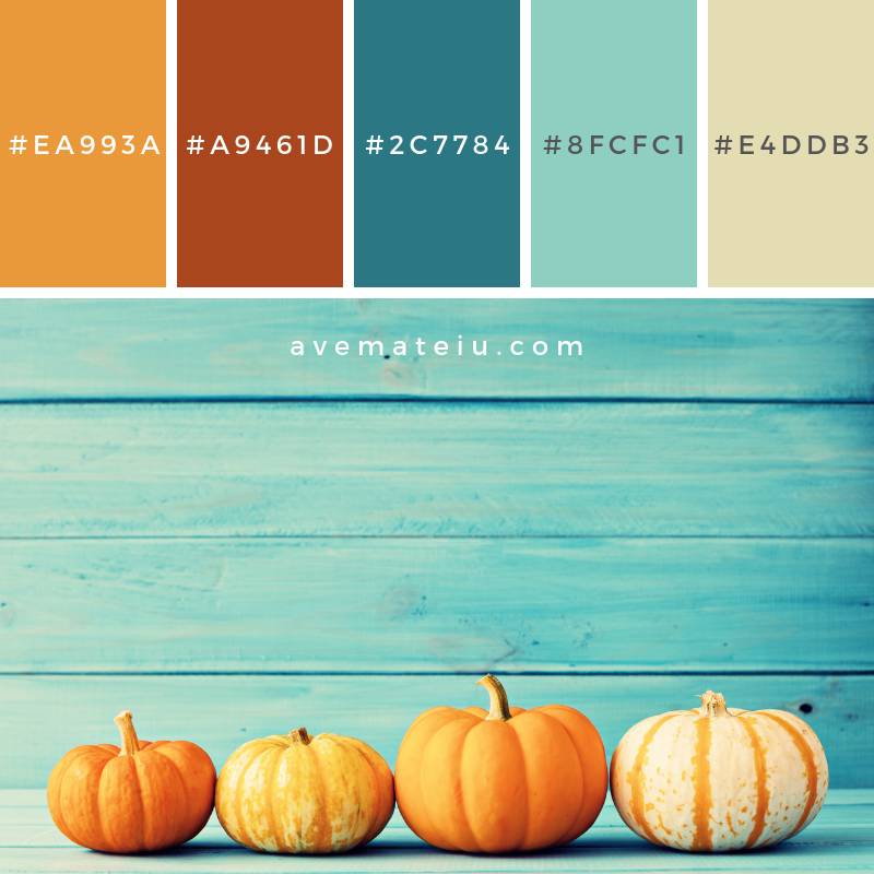 Pumpkin and autumn leafs Color Palette #336 - Color combination, Color pallets, Color palettes, Color scheme, Color inspiration, Colour Palettes, Art, Inspiration, Vintage, Bright, Blue, Warm, Dark, Design, Yellow, Green, Grey, Red, Purple, Rustic, Fall, Autumn, Winter, Autumn 2019, Nature, Spring, Summer, Flowers, Sunset, Sunrise, Pantone https://avemateiu.com/color-palettes/