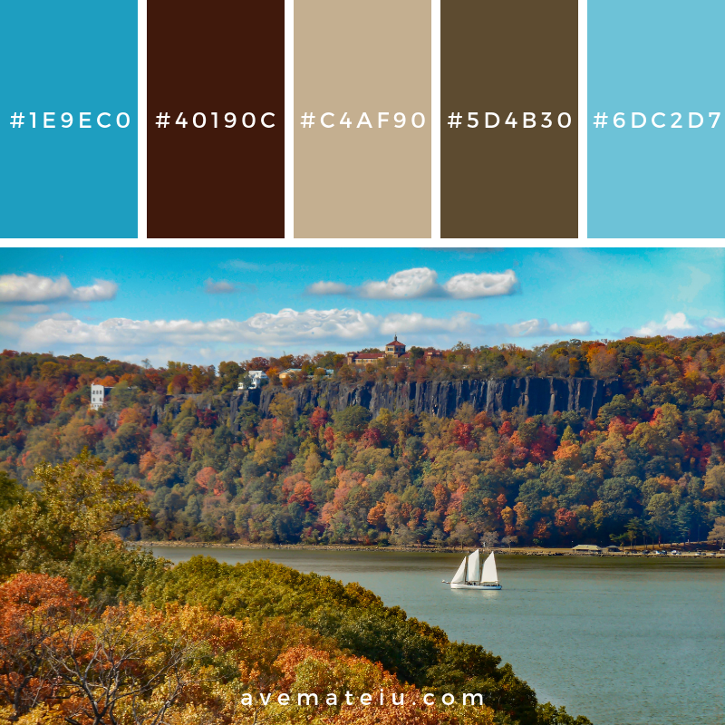 Hudson River Palisades and Sailboat in Autumn Color Palette #340 - Color combination, Color pallets, Color palettes, Color scheme, Color inspiration, Colour Palettes, Art, Inspiration, Vintage, Bright, Blue, Warm, Dark, Design, Yellow, Green, Grey, Red, Purple, Rustic, Fall, Autumn, Winter, Autumn 2019, Nature, Spring, Summer, Flowers, Sunset, Sunrise, Pantone https://avemateiu.com/color-palettes/