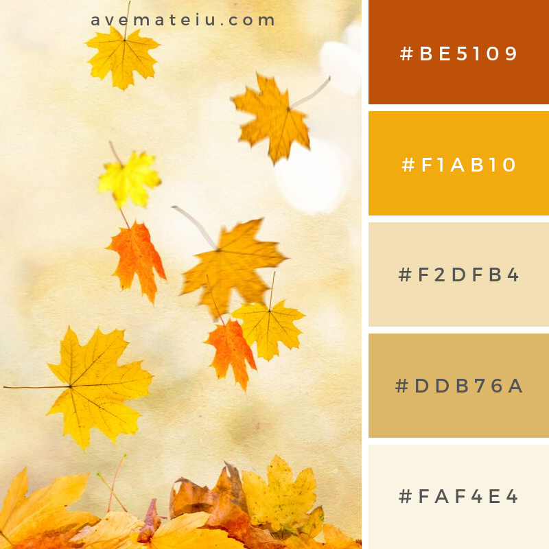 Autumn Leaves Background Color Palette #341 - Color combination, Color pallets, Color palettes, Color scheme, Color inspiration, Colour Palettes, Art, Inspiration, Vintage, Bright, Blue, Warm, Dark, Design, Yellow, Green, Grey, Red, Purple, Rustic, Fall, Autumn, Winter, Autumn 2019, Nature, Spring, Summer, Flowers, Sunset, Sunrise, Pantone https://avemateiu.com/color-palettes/