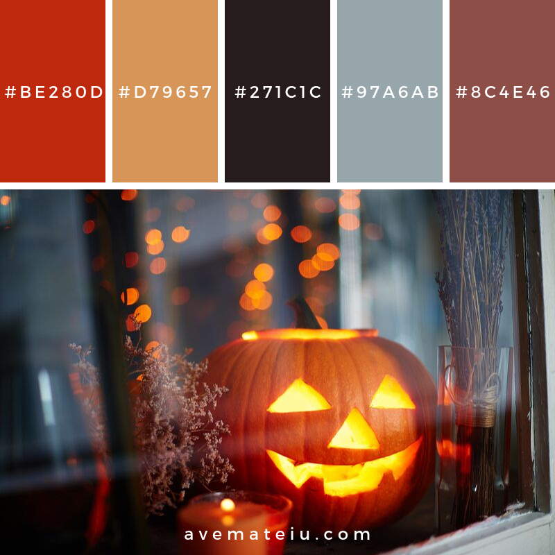 Jack-o-lantern in window Color Palette #344 - Color combination, Color pallets, Color palettes, Color scheme, Color inspiration, Colour Palettes, Art, Inspiration, Vintage, Bright, Blue, Warm, Dark, Design, Yellow, Green, Grey, Red, Purple, Rustic, Fall, Autumn, Winter, Autumn 2019, Nature, Spring, Summer, Flowers, Sunset, Sunrise