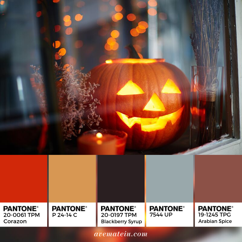 Jack-o-lantern in window Pantone Color Palette #344 - Color combination, Color pallets, Color palettes, Color scheme, Color inspiration, Colour Palettes, Art, Inspiration, Vintage, Bright, Blue, Warm, Dark, Design, Yellow, Green, Grey, Red, Purple, Rustic, Fall, Autumn, Winter, Autumn 2019, Nature, Spring, Summer, Flowers, Sunset, Sunrise