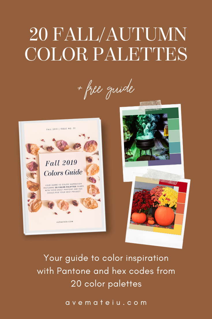 20 Fall/Autumn Color Palettes with Pantone and Hex Codes - Color combination, Color pallets, Color palettes, Color scheme, Color inspiration, Colour Palettes, Art, Inspiration, Vintage, Bright, Background, Warm, Dark, Design, Yellow, Green, Orange, Red, Purple, Rustic, Fall, Autumn, Thanksgiving, Autumn 2019, Nature, Seasonal, Wood, Wooden, Season, Natural