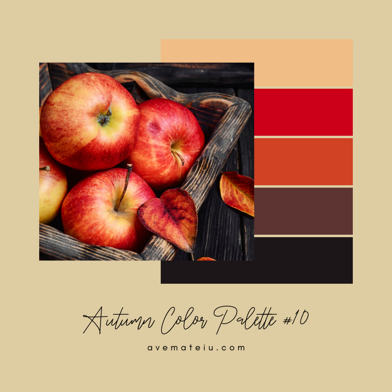 Autumn Color Palette 10 - Color combination, Color pallets, Color palettes, Color scheme, Color inspiration, Colour Palettes, Art, Inspiration, Vintage, Bright, Background, Warm, Dark, Design, Yellow, Green, Orange, Red, Purple, Rustic, Fall, Autumn, Thanksgiving, Autumn 2019, Nature, Seasonal, Wood, Wooden, Season, Natural