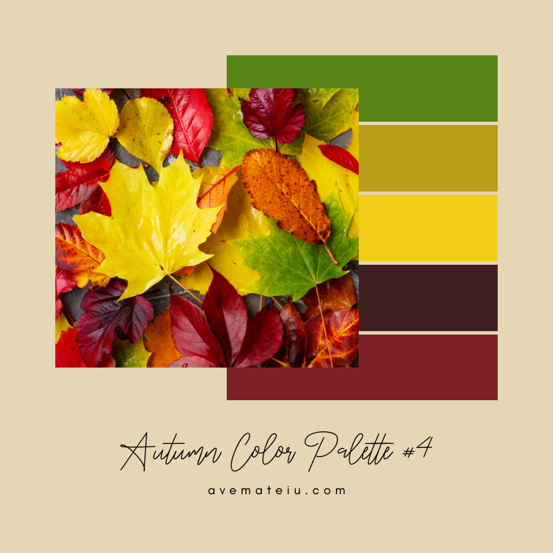 Autumn Color Palette 4 - Color combination, Color pallets, Color palettes, Color scheme, Color inspiration, Colour Palettes, Art, Inspiration, Vintage, Bright, Background, Warm, Dark, Design, Yellow, Green, Orange, Red, Purple, Rustic, Fall, Autumn, Thanksgiving, Autumn 2019, Nature, Seasonal, Wood, Wooden, Season, Natural