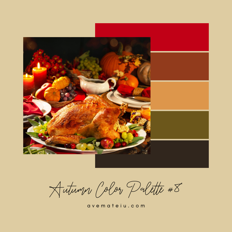 Autumn Color Palette 8 - Color combination, Color pallets, Color palettes, Color scheme, Color inspiration, Colour Palettes, Art, Inspiration, Vintage, Bright, Background, Warm, Dark, Design, Yellow, Green, Orange, Red, Purple, Rustic, Fall, Autumn, Thanksgiving, Autumn 2019, Nature, Seasonal, Wood, Wooden, Season, Natural