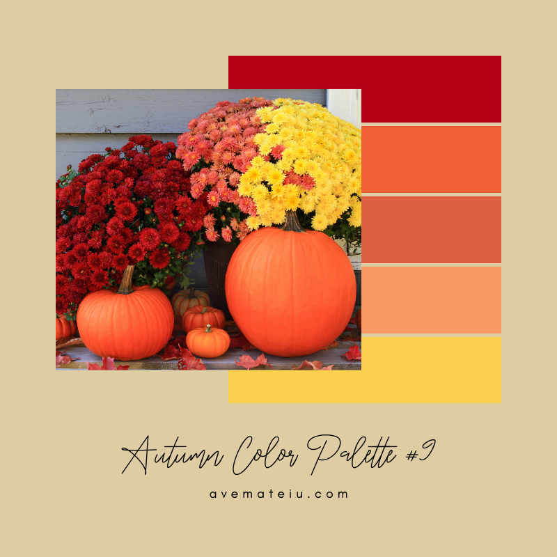 Autumn Color Palette 9 - Color combination, Color pallets, Color palettes, Color scheme, Color inspiration, Colour Palettes, Art, Inspiration, Vintage, Bright, Background, Warm, Dark, Design, Yellow, Green, Orange, Red, Purple, Rustic, Fall, Autumn, Thanksgiving, Autumn 2019, Nature, Seasonal, Wood, Wooden, Season, Natural