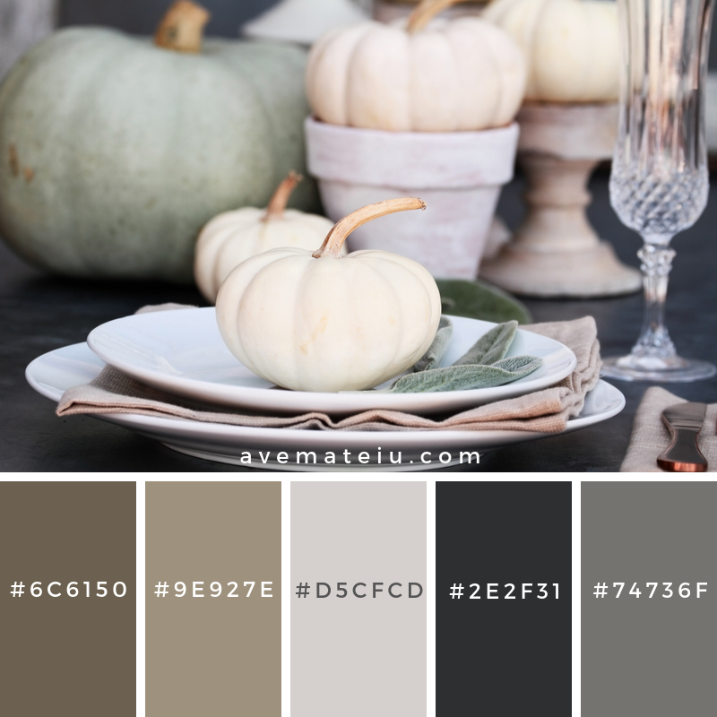 Fall Table Setting Color Palette 350 - Color combination, Color pallets, Color palettes, Color scheme, Color inspiration, Colour Palettes, Art, Inspiration, Vintage, Bright, Blue, Warm, Dark, Design, Yellow, Green, Grey, Red, Purple, Rustic, Fall, Autumn, Winter, Autumn 2019, Nature, Spring, Summer, Flowers, Sunset, Sunrise