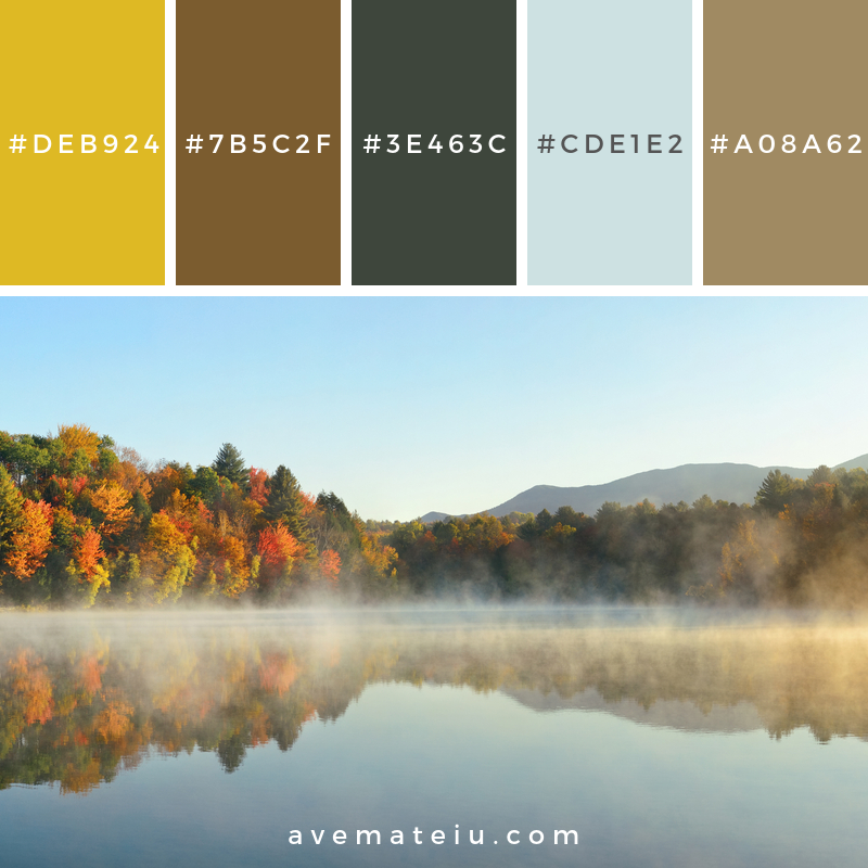 Lake Autumn Foliage fog Color Palette 352 - Color combination, Color pallets, Color palettes, Color scheme, Color inspiration, Colour Palettes, Art, Inspiration, Vintage, Bright, Background, Warm, Dark, Design, Yellow, Green, Orange, Red, Purple, Rustic, Fall, Autumn, Thanksgiving, Autumn 2019, Nature, Seasonal, Wood, Wooden, Season, Natural