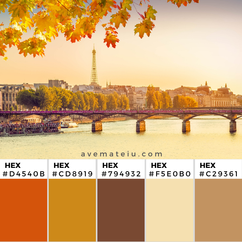 Pont des Arts and Seine river at sunny autumn sunset in Paris, France Color Palette 354 - Color combination, Color pallets, Color palettes, Color scheme, Color inspiration, Colour Palettes, Art, Inspiration, Vintage, Bright, Background, Warm, Dark, Design, Yellow, Green, Orange, Red, Purple, Rustic, Fall, Autumn, Thanksgiving, Autumn 2019, Nature, Seasonal, Wood, Wooden, Season, Natural
