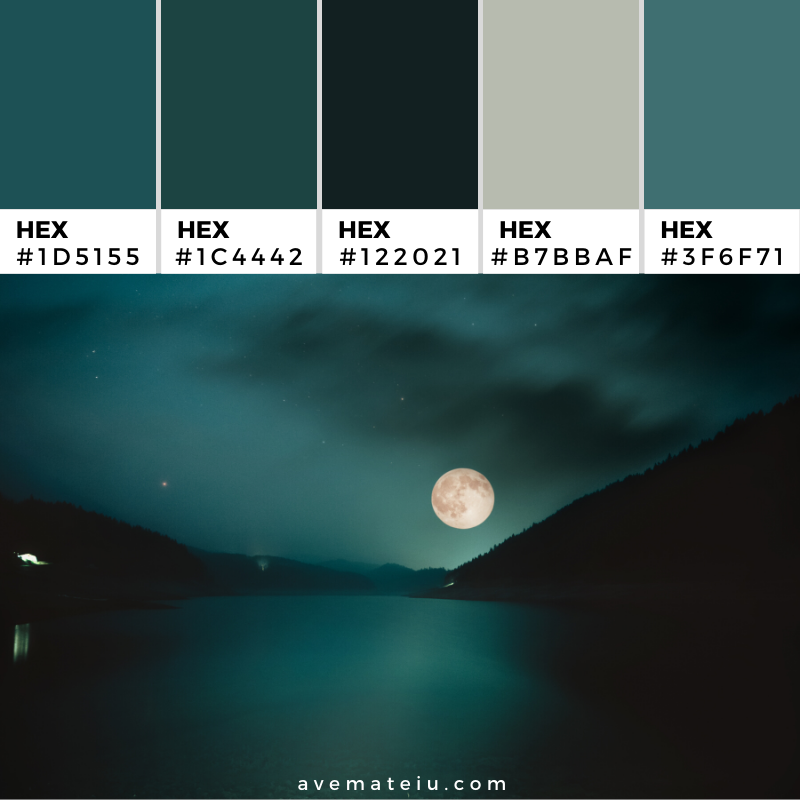 Full Moon over the mountain lake Color Palette 356 - Color combination, Color pallets, Color palettes, Color scheme, Color inspiration, Colour Palettes, Art, Inspiration, Vintage, Bright, Background, Warm, Dark, Design, Yellow, Green, Orange, Red, Purple, Rustic, Fall, Autumn, Thanksgiving, Autumn 2019, Nature, Seasonal, Wood, Wooden, Season, Natural