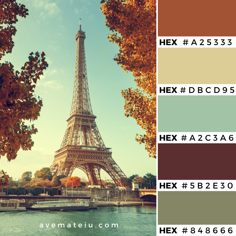 Seine in Paris with Eiffel tower in autumn time Color Palette 357 - Color combination, Color pallets, Color palettes, Color scheme, Color inspiration, Colour Palettes, Art, Inspiration, Vintage, Bright, Background, Warm, Dark, Design, Yellow, Green, Orange, Red, Purple, Rustic, Fall, Autumn, Thanksgiving, Autumn 2019, Nature, Seasonal, Wood, Wooden, Season, Natural