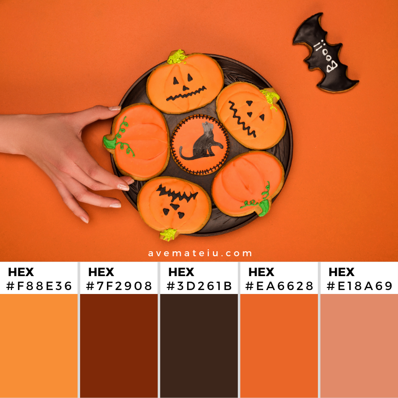 Woman taking Halloween cookie Color Palette 358 - Color combination, Color pallets, Color palettes, Color scheme, Color inspiration, Colour Palettes, Art, Inspiration, Vintage, Bright, Background, Warm, Dark, Design, Yellow, Green, Orange, Red, Purple, Rustic, Fall, Autumn, Thanksgiving, Autumn 2019, Nature, Seasonal, Wood, Wooden, Season, Natural