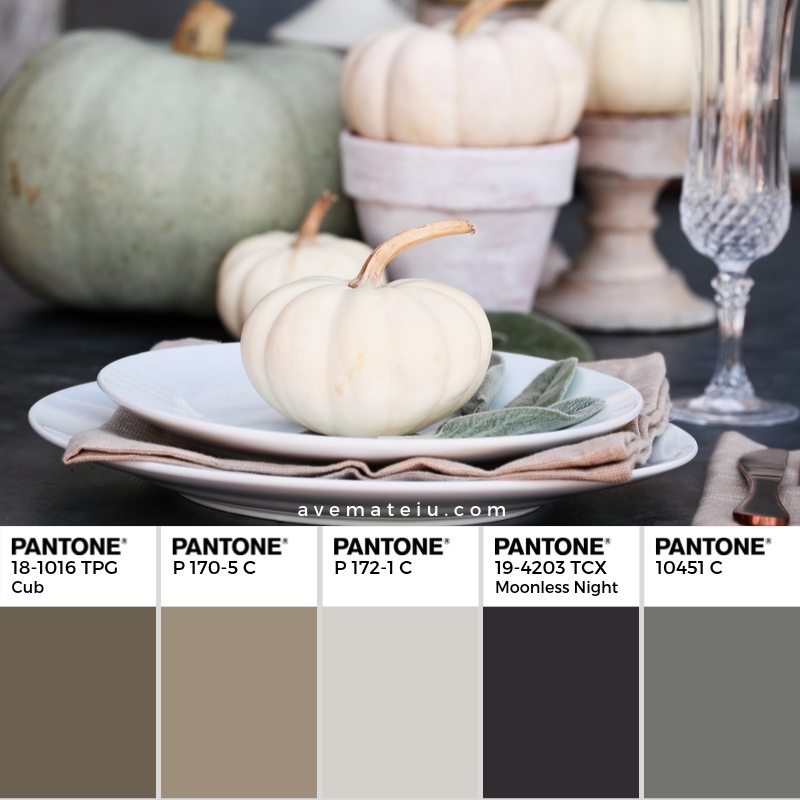 Fall Table Setting Pantone Color Palette 350 - Color combination, Color pallets, Color palettes, Color scheme, Color inspiration, Colour Palettes, Art, Inspiration, Vintage, Bright, Blue, Warm, Dark, Design, Yellow, Green, Grey, Red, Purple, Rustic, Fall, Autumn, Winter, Autumn 2019, Nature, Spring, Summer, Flowers, Sunset, Sunrise