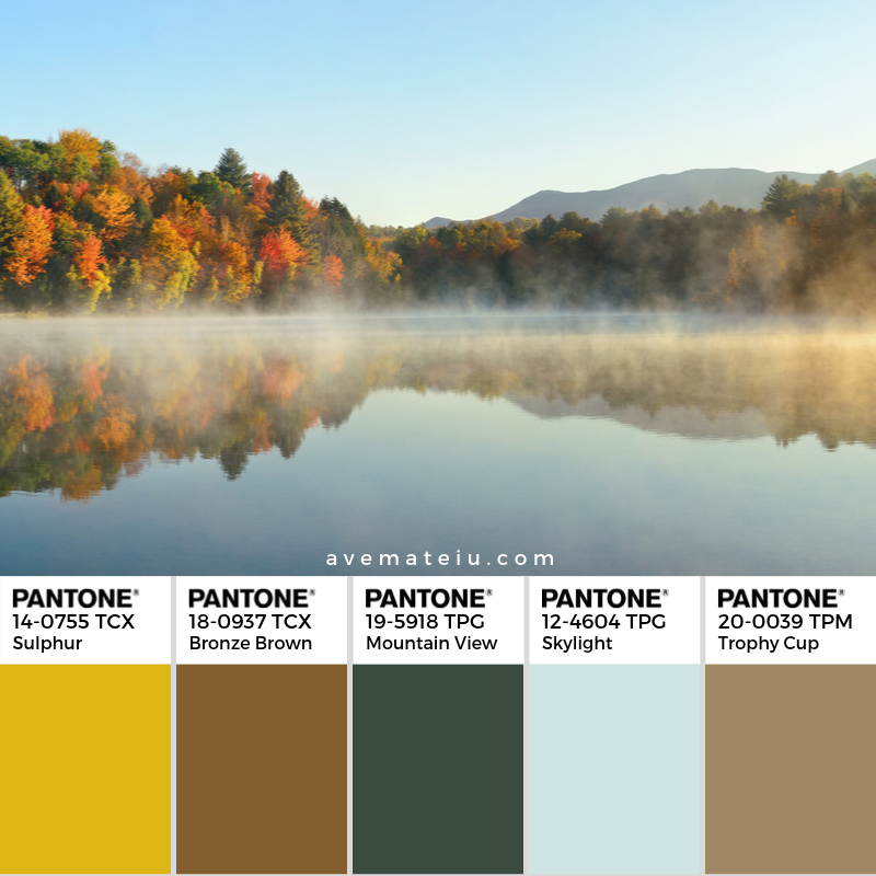 Lake Autumn Foliage fog Pantone Color Palette 352 - Color combination, Color pallets, Color palettes, Color scheme, Color inspiration, Colour Palettes, Art, Inspiration, Vintage, Bright, Background, Warm, Dark, Design, Yellow, Green, Orange, Red, Purple, Rustic, Fall, Autumn, Thanksgiving, Autumn 2019, Nature, Seasonal, Wood, Wooden, Season, Natural