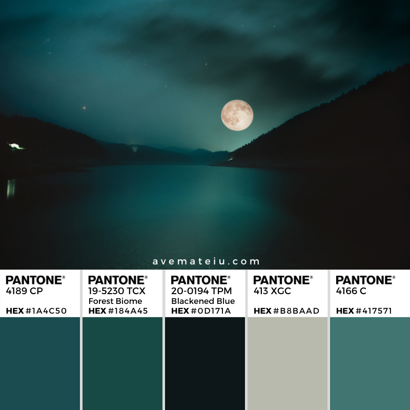 Full Moon over the mountain lake Pantone Color Palette 356  - Color combination, Color pallets, Color palettes, Color scheme, Color inspiration, Colour Palettes, Art, Inspiration, Vintage, Bright, Background, Warm, Dark, Design, Yellow, Green, Orange, Red, Purple, Rustic, Fall, Autumn, Thanksgiving, Autumn 2019, Nature, Seasonal, Wood, Wooden, Season, Natural