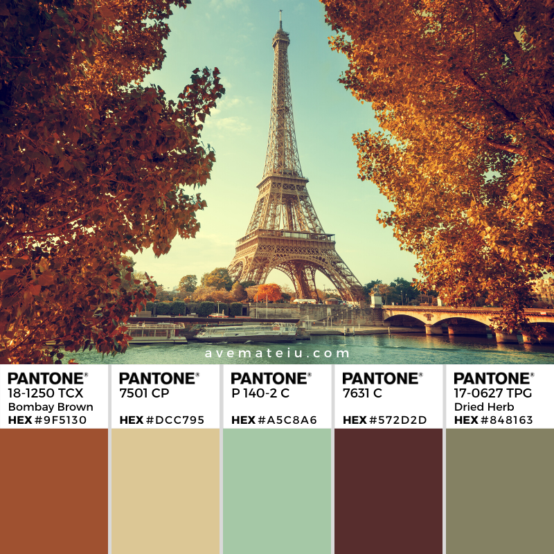 Seine in Paris with Eiffel tower in autumn time Pantone Color Palette 357  - Color combination, Color pallets, Color palettes, Color scheme, Color inspiration, Colour Palettes, Art, Inspiration, Vintage, Bright, Background, Warm, Dark, Design, Yellow, Green, Orange, Red, Purple, Rustic, Fall, Autumn, Thanksgiving, Autumn 2019, Nature, Seasonal, Wood, Wooden, Season, Natural