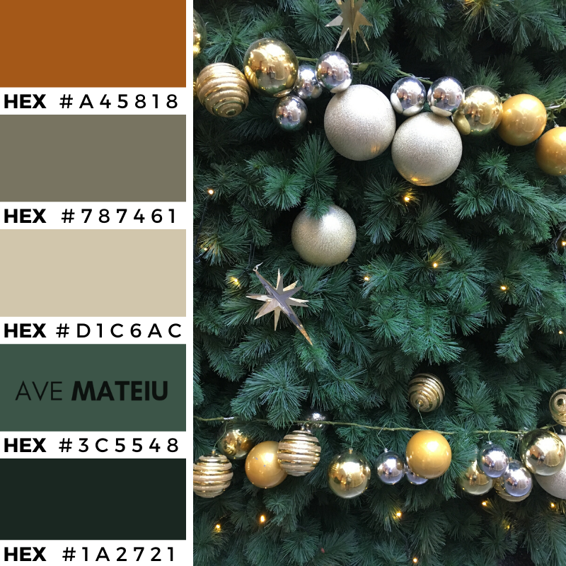 Christmas Decorations Color Palette 363 with Hex Codes - Color combination, Color pallets, Color palettes, Color scheme, Color inspiration, Colour Palettes, Art, Inspiration, Vintage, Bright, Background, Warm, Dark, Design, Yellow, Green, Orange, Red, Purple, Rustic, Fall, Christmas, Thanksgiving, Christmas 2019, Nature, Seasonal, Wood, Wooden, Season, Natural