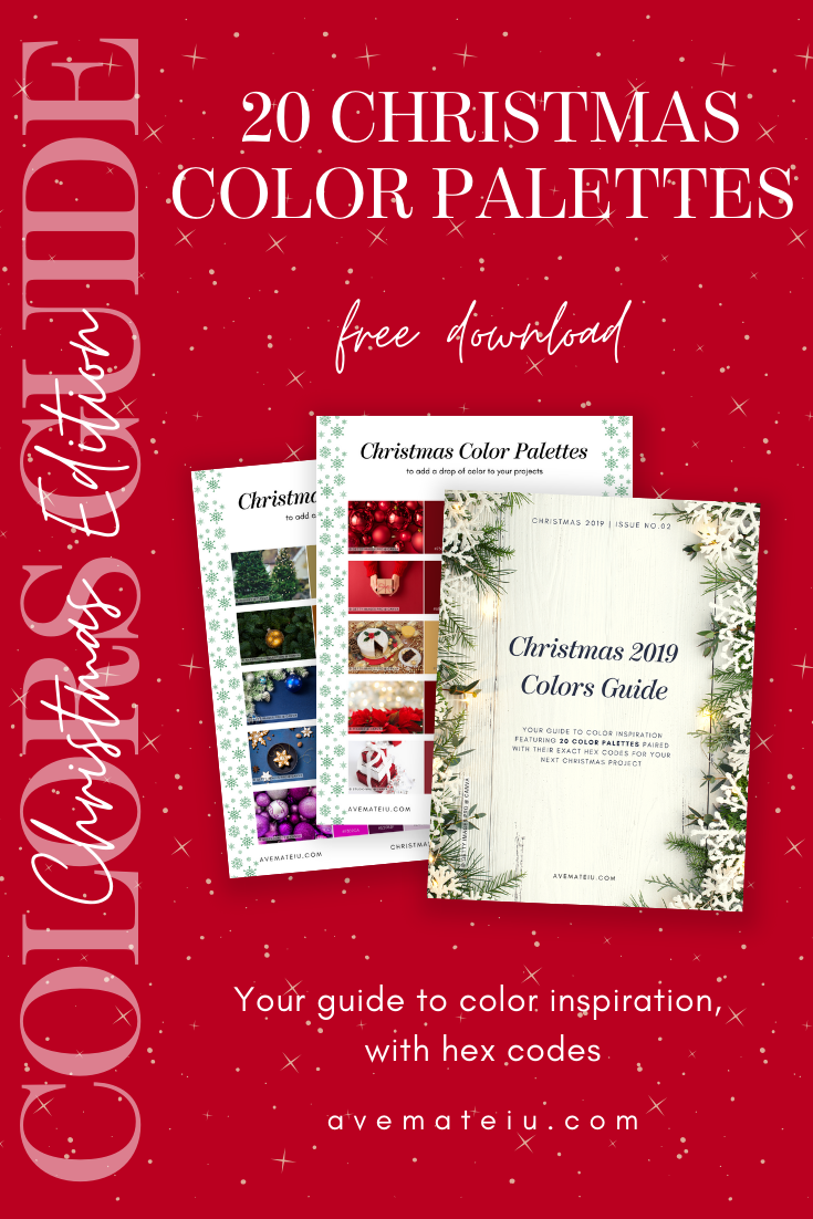20 Christmas Color Palettes with Hex Codes - Color combination, Color pallets, Color palettes, Color scheme, Color inspiration, Colour Palettes, Art, Inspiration, Bright, Background, Warm, Dark, Design, Yellow, Green, Orange, Red, Purple, Blue, Gold, Silver, Rose Gold, Rustic, Christmas 2019, Winter, Nature, Seasonal, Season, Natural