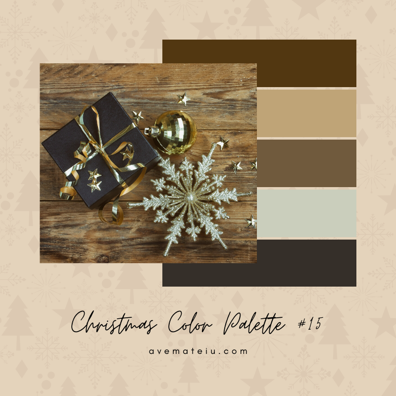 Christmas Color Palette #15 - Color combination, Color pallets, Color palettes, Color scheme, Color inspiration, Colour Palettes, Art, Inspiration, Bright, Background, Warm, Dark, Design, Yellow, Green, Orange, Red, Purple, Blue, Gold, Silver, Rose Gold, Rustic, Christmas 2019, Winter, Nature, Seasonal, Season, Natural