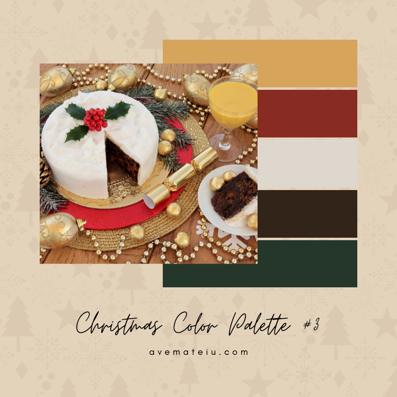 Christmas Color Palette #3 - Color combination, Color pallets, Color palettes, Color scheme, Color inspiration, Colour Palettes, Art, Inspiration, Bright, Background, Warm, Dark, Design, Yellow, Green, Orange, Red, Purple, Blue, Gold, Silver, Rose Gold, Rustic, Christmas 2019, Winter, Nature, Seasonal, Season, Natural