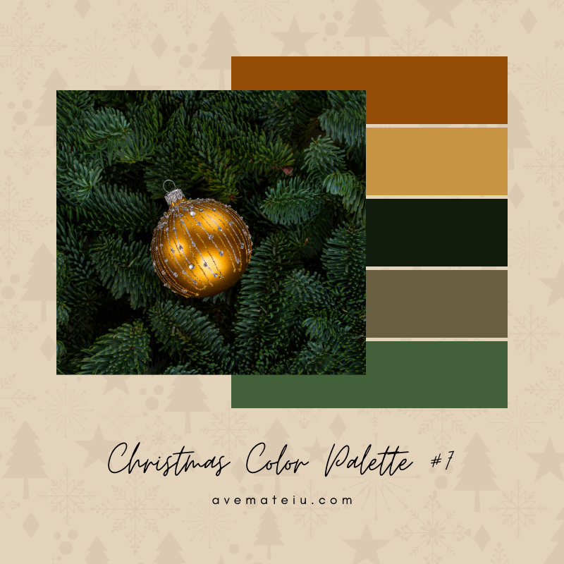 Christmas Color Palette #7 - Color combination, Color pallets, Color palettes, Color scheme, Color inspiration, Colour Palettes, Art, Inspiration, Bright, Background, Warm, Dark, Design, Yellow, Green, Orange, Red, Purple, Blue, Gold, Silver, Rose Gold, Rustic, Christmas 2019, Winter, Nature, Seasonal, Season, Natural