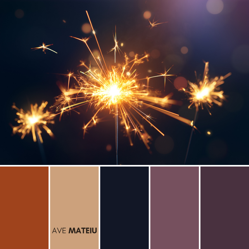 Burning sparkler, Happy New Year Color Palette 366 - Color combination, Color pallets, Color palettes, Color scheme, Color inspiration, Colour Palettes, Art, Inspiration, Vintage, Bright, Background, Warm, Dark, Design, Yellow, Green, Orange, Red, Purple, Rustic, Fall, Christmas, Thanksgiving, Christmas 2019, Nature, Seasonal, Wood, Wooden, Season, Natural