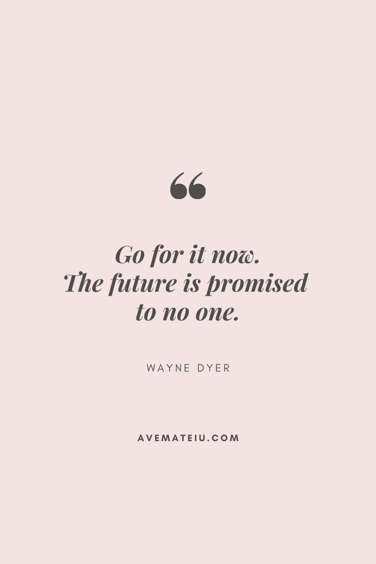 Go for it now. The future is promised to no one. - Wayne Dyer Motivational Quote Of The Day - September 9, 2019 - beautiful words, deep quotes, happiness quotes, inspirational quotes, leadership quote, life quotes, motivational quotes, positive quotes, success quotes, wisdom quotes