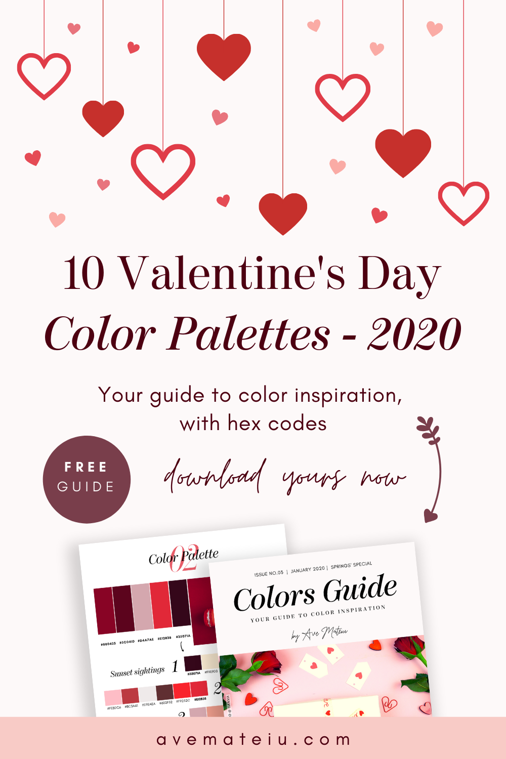 10 Valentine's Day Color Palettes plus FREE Colors Guide 2020 - Spring 2020, color palette, color palettes, colour palettes, color scheme, color inspiration, color combination, art tutorial, collage, digital art, canvas painting, wall art, home painting, photography, weddings by color, inspiration, vintage, wallpaper, background, rustic, seasonal, season, natural, nature