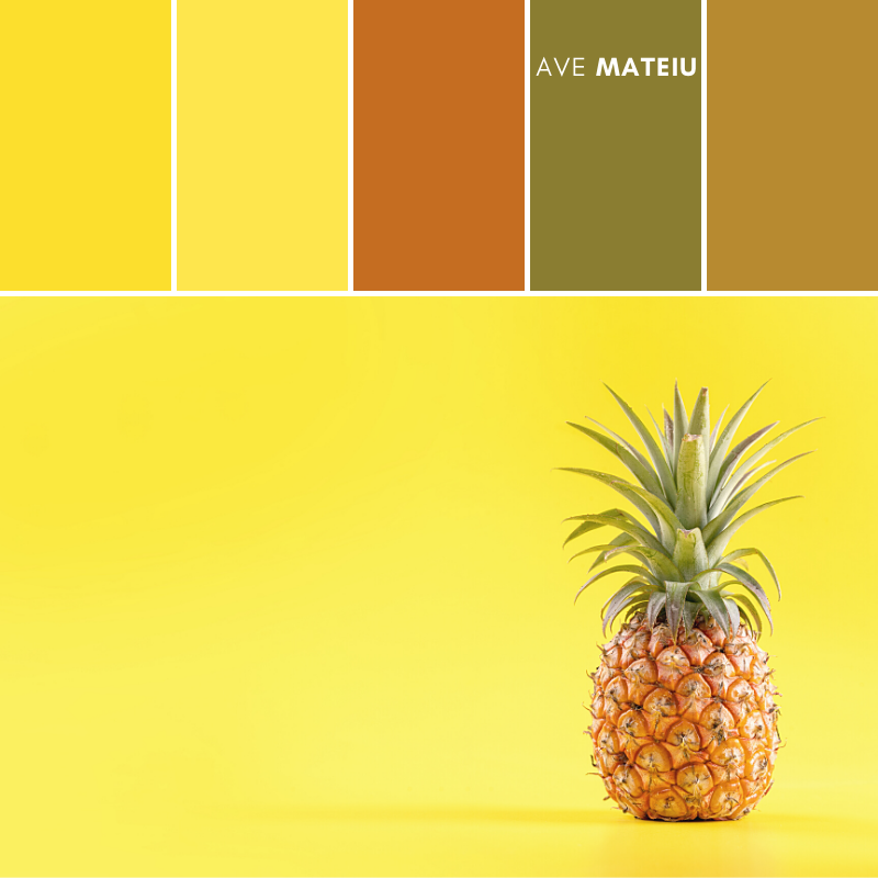 Beautiful Fresh Pineapple Color Palette 372 - Summer 2020, color palette, color palettes, colour palettes, color scheme, color inspiration, color combination, art tutorial, collage, digital art, canvas painting, wall art, home painting, photography, weddings by color, inspiration, vintage, wallpaper, background, rustic, seasonal, season, natural, nature