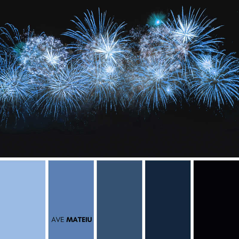 Blue color firework Color Palette 374 - Summer 2020, color palette, color palettes, colour palettes, color scheme, color inspiration, color combination, art tutorial, collage, digital art, canvas painting, wall art, home painting, photography, weddings by color, inspiration, vintage, wallpaper, background, rustic, seasonal, season, natural, nature