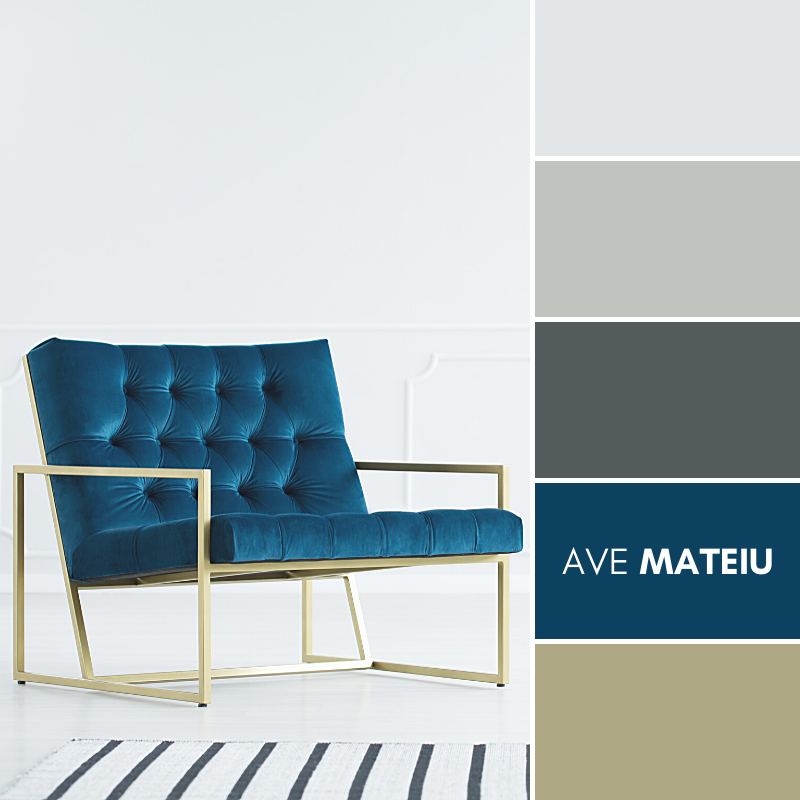 A minimalist living room interior with a white empty wall, elegant royal blue armchair with a metal golden frame and a striped rug Color Palette #377 - Summer 2020, color palette, color palettes, colour palettes, color scheme, color inspiration, color combination, art tutorial, collage, digital art, canvas painting, wall art, home painting, photography, weddings by color, inspiration, vintage, wallpaper, background, rustic, seasonal, season, natural, nature