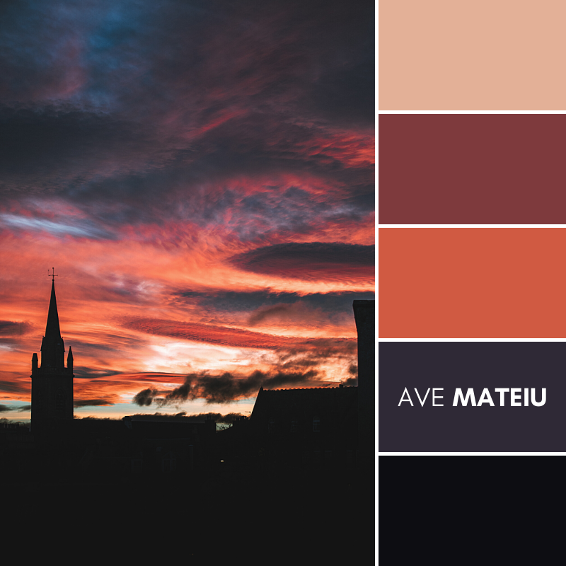 Autumn sunset over Leith, Edinburgh (Scotland) Color Palette #385 - Fall Autumn 2020, color palette, color palettes, colour palettes, color scheme, color inspiration, color combination, art tutorial, collage, digital art, canvas painting, wall art, home painting, photography, weddings by color, inspiration, vintage, wallpaper, background, rustic, seasonal, season, natural, nature