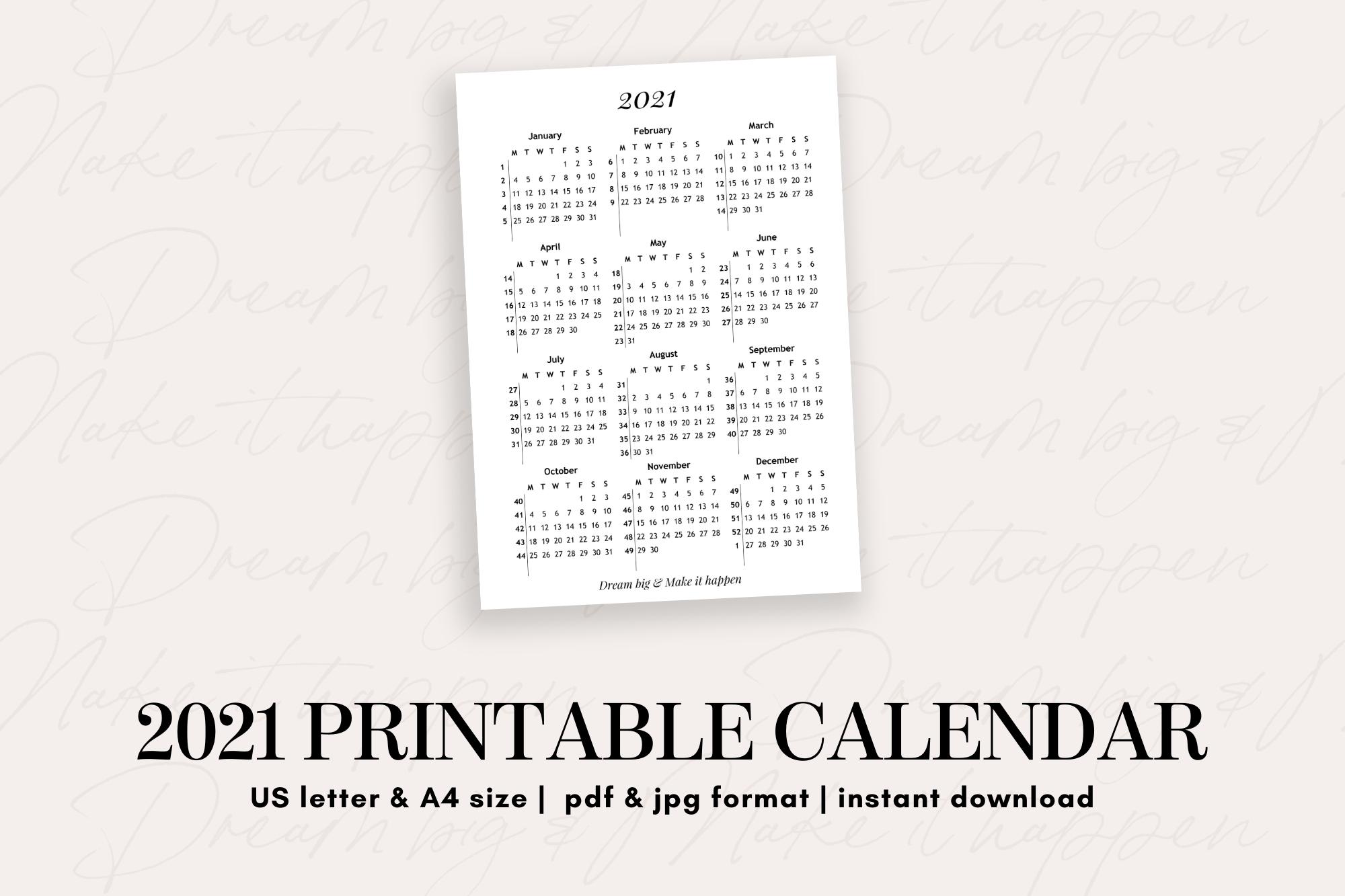 2021 Printable Calendar -  teacher resources, school activities, financial planning, budgeting, art education, personal development, note taking, paper crafts