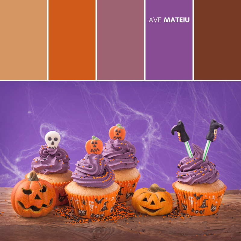 Group of Halloween cupcakes and decorations Color Palette #392 - Fall Autumn 2020, color palette, color palettes, colour palettes, color scheme, color inspiration, color combination, art tutorial, collage, digital art, canvas painting, wall art, home painting, photography, weddings by color, inspiration, vintage, wallpaper, background, rustic, seasonal, season, natural, nature