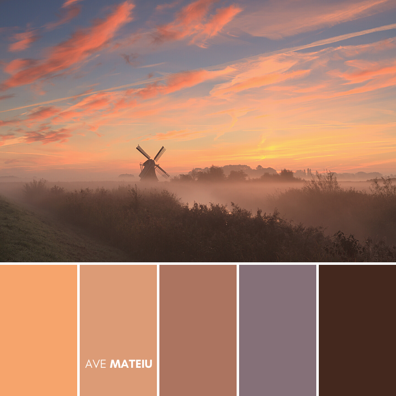 Pink and orange clouds during a foggy sunrise at a windmill in the Netherlands Color Palette #394 - Fall Autumn 2020, color palette, color palettes, colour palettes, color scheme, color inspiration, color combination, art tutorial, collage, digital art, canvas painting, wall art, home painting, photography, weddings by color, inspiration, vintage, wallpaper, background, rustic, seasonal, season, natural, nature
