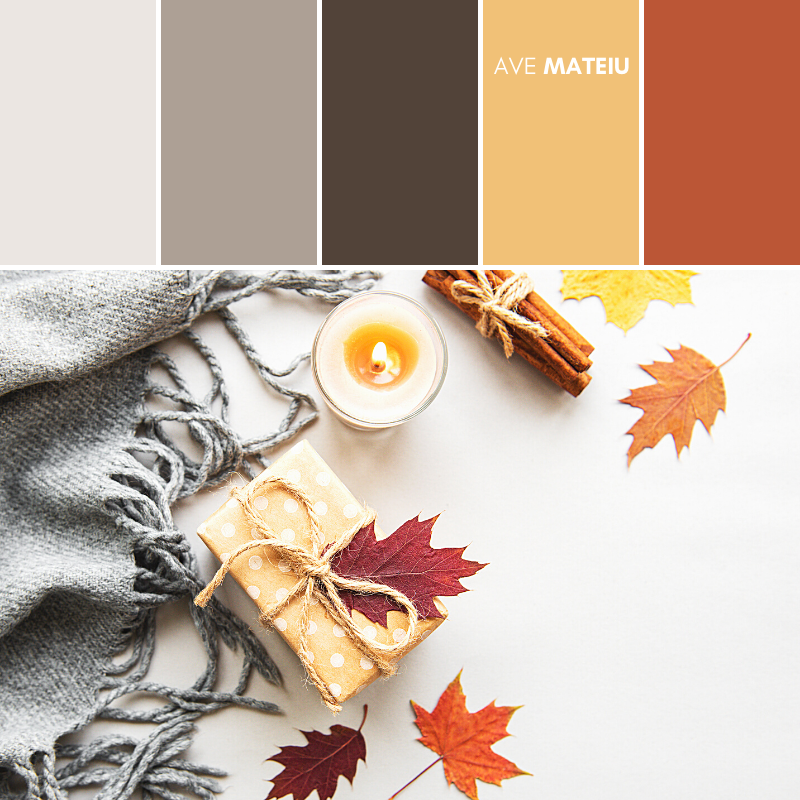 Autumn composition, gift box, autumn leaves, candle and spices on a white background Color Palette #396 - Fall Autumn 2020, color palette, color palettes, colour palettes, color scheme, color inspiration, color combination, art tutorial, collage, digital art, canvas painting, wall art, home painting, photography, weddings by color, inspiration, vintage, wallpaper, background, rustic, seasonal, season, natural, nature