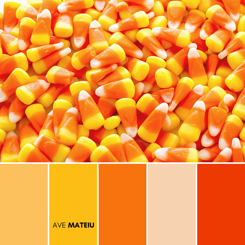 Halloween candy-corn on a white background Color Palette #398 - Fall Autumn 2020, color palette, color palettes, colour palettes, color scheme, color inspiration, color combination, art tutorial, collage, digital art, canvas painting, wall art, home painting, photography, weddings by color, inspiration, vintage, wallpaper, background, rustic, seasonal, season, natural, nature