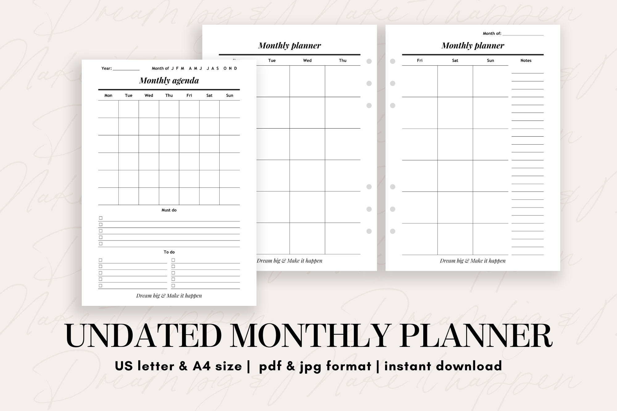Undated Monthly Planner - teacher resources, school activities, financial planning, budgeting, art education, personal development, note taking, paper crafts, printable calendar