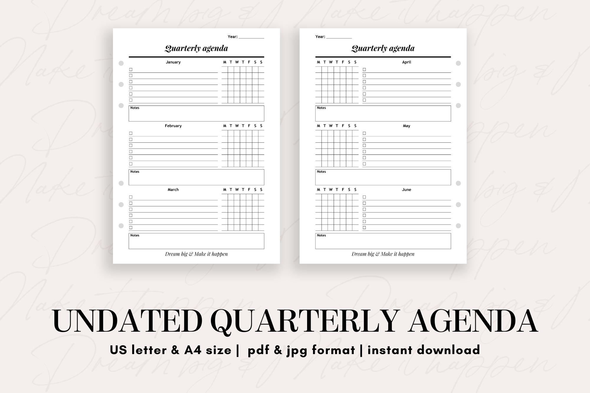 Undated Quarterly Agenda - teacher resources, school activities, financial planning, budgeting, art education, personal development, note taking, paper crafts, printable calendar